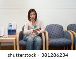 woman in hospital waiting room | Shutterstock . vector #381286234