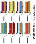 collection of paint rollers... | Shutterstock .eps vector #381290368