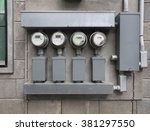 line up of four electric power... | Shutterstock . vector #381297550