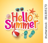 hello summer text title poster... | Shutterstock .eps vector #381305173