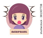 illustration of cute girl faces ... | Shutterstock .eps vector #381307738