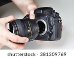photographer with big lens and... | Shutterstock . vector #381309769