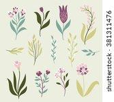 vector flowers set   Shutterstock .eps vector #381311476