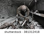 miner in a mine | Shutterstock . vector #381312418