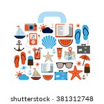 holiday and travel background   ... | Shutterstock .eps vector #381312748