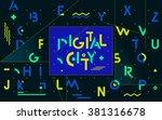 geometric digital font | Shutterstock .eps vector #381316678