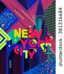 flat typography poster. new... | Shutterstock .eps vector #381316684