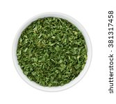 dried parsley flakes in a... | Shutterstock . vector #381317458