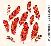 vector set of ethnic feathers.... | Shutterstock .eps vector #381318064