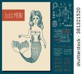 vintage seafood menu design.... | Shutterstock .eps vector #381321520