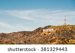 hollywood sign  at la ... | Shutterstock . vector #381329443