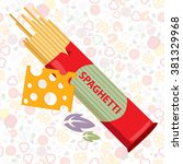 spaghetti and a piece of cheese. | Shutterstock .eps vector #381329968