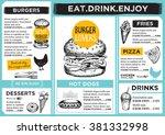 restaurant brochure vector ... | Shutterstock .eps vector #381332998