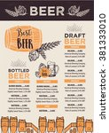 beer restaurant brochure vector ... | Shutterstock .eps vector #381333010