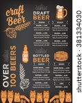 beer restaurant brochure vector ... | Shutterstock .eps vector #381334030