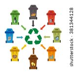 colored garbage cans with...   Shutterstock .eps vector #381344128