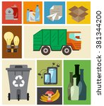 waste disposal flat concept.... | Shutterstock .eps vector #381344200