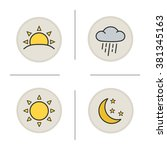 weather color icons set.... | Shutterstock .eps vector #381345163