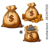 three bags with gold and silver ... | Shutterstock .eps vector #381347020