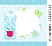 card with blue bunny for girl.... | Shutterstock .eps vector #381347188