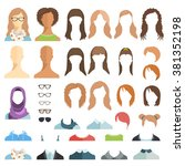girl's hairstyles. avatar... | Shutterstock .eps vector #381352198