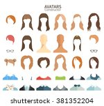 girl's hairstyles. avatar... | Shutterstock .eps vector #381352204