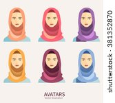 women wearing hijab. avatar... | Shutterstock .eps vector #381352870