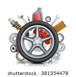 the concept of truck wheels... | Shutterstock . vector #381354478