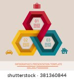 Presentation template with three different colored hexagonal fields | Shutterstock vector #381360844