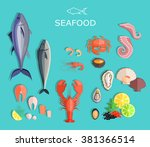 Seafood Set Design Flat Fish...