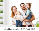 happy family mother  father and ... | Shutterstock . vector #381367180
