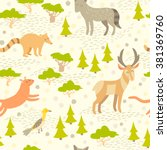 north american cute animals... | Shutterstock .eps vector #381369760