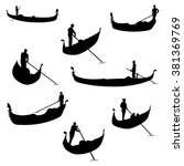 Set Of Gondolier Silhouettes....