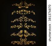 set of filigree damask... | Shutterstock .eps vector #381376870