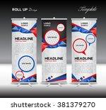 blue and orange roll up banner... | Shutterstock .eps vector #381379270