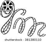 black and white film strip and... | Shutterstock .eps vector #381380110