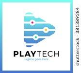 play tech logo. triangle media... | Shutterstock .eps vector #381389284
