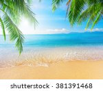 palm and tropical beach | Shutterstock . vector #381391468