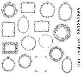 hand drawn frames set rococo... | Shutterstock .eps vector #381392869