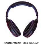 big disco head phones isolated... | Shutterstock . vector #381400069