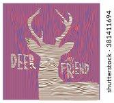 vector colorful deer pop art... | Shutterstock .eps vector #381411694