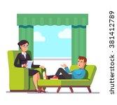 patient talking to psychologist.... | Shutterstock .eps vector #381412789