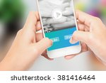hand holding the phone label... | Shutterstock . vector #381416464