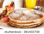 Stack Of Three Golden Pancakes...