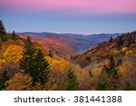belt of venus and fall foliage... | Shutterstock . vector #381441388