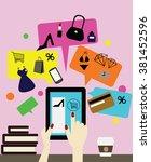 girl loves online shopping.   Shutterstock .eps vector #381452596