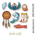 good luck. lucky amulets and... | Shutterstock .eps vector #381453130