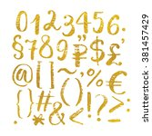 hand drawn calligraphic numbers ... | Shutterstock .eps vector #381457429
