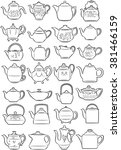 vector illustration of teapots... | Shutterstock .eps vector #381466159