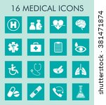 medical and healthcare icons... | Shutterstock .eps vector #381471874